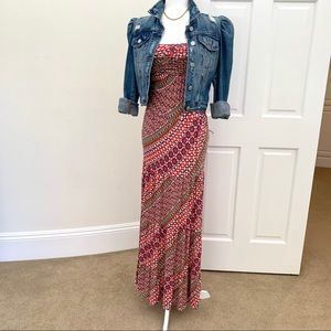 Guess printed strapless maxi dress size XS